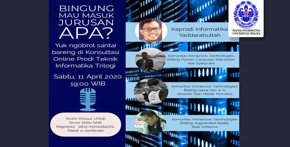 Webminar Konsoltasi Online Prodi Teknik Informatika Universitas Trilogi