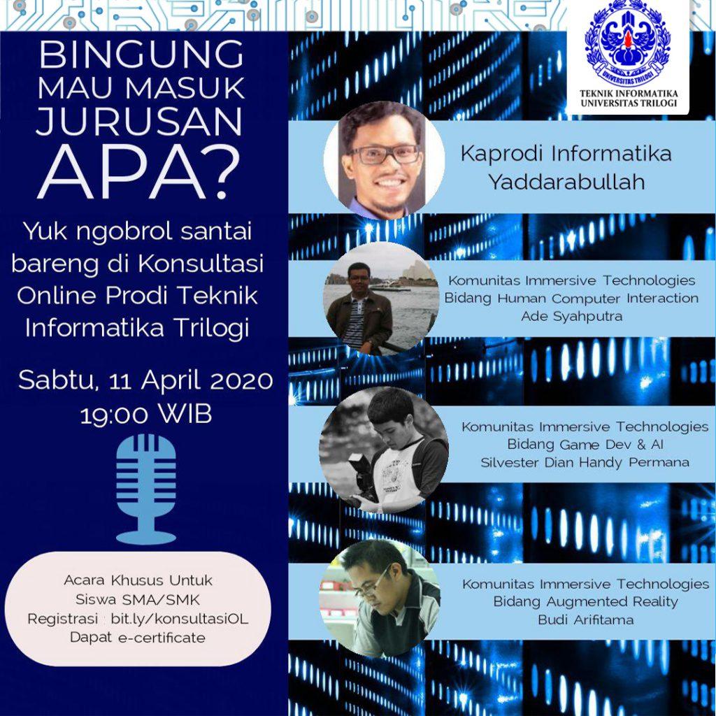Konsultasi Online Prodi Teknik Informatika Universitas Trilogi